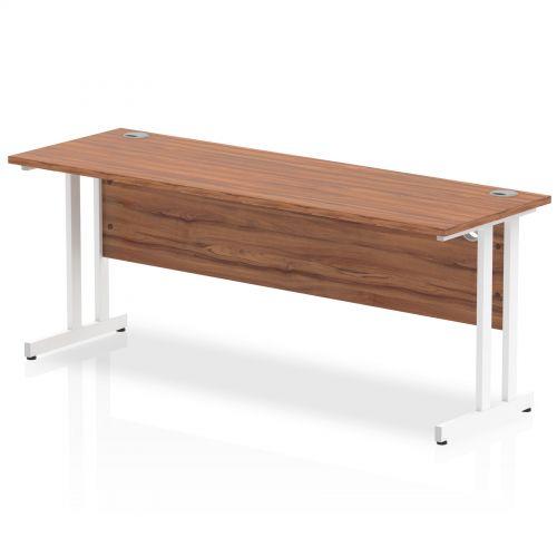 Impulse 1800/600 Rectangle White Cantilever Leg Desk Walnut