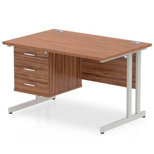 Impulse 1200 Rectangle Silver Cant Leg Desk WALNUT 1 x 3 Drawer Fixed Ped
