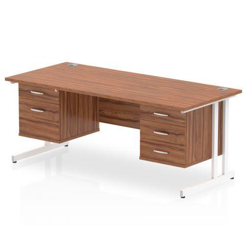 Impulse 1600 Rectangle White Cant Leg Desk WALNUT 1 x 2 Drawer 1 x 3 Drawer Fixed Ped