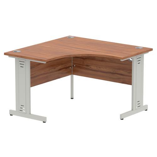 Impulse 1200 Corner Desk Silver Cable Managed Leg Desk Walnut