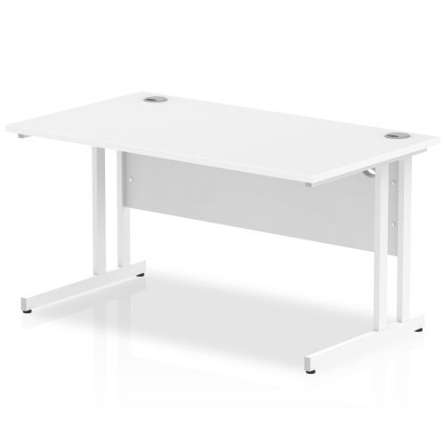 Impulse 1400 x 800mm Straight Desk White Top White Cantilever Leg MI002192
