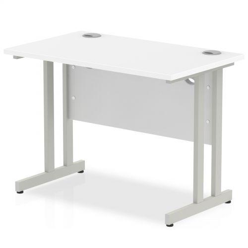 Impulse 1000 x 600mm Straight Desk White Top Silver Cantilever Leg MI002195