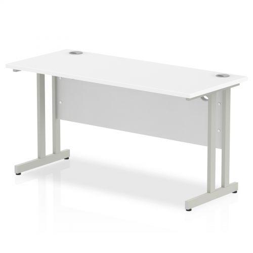 Impulse 1400/600 Rectangle Silver Cantilever Leg Desk White