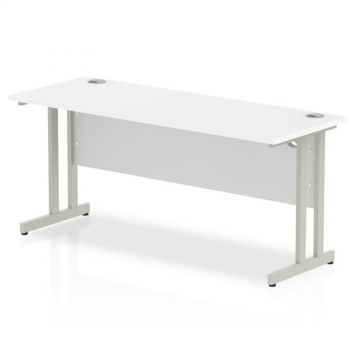 Impulse 1600/600 Rectangle Silver Cantilever Leg Desk White
