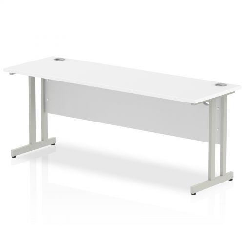 Impulse 1800 x 600mm Straight Desk White Top Silver Cantilever Leg MI002199