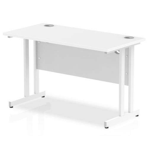 Impulse 1200 x 600mm Straight Desk White Top White Cantilever Leg MI002201