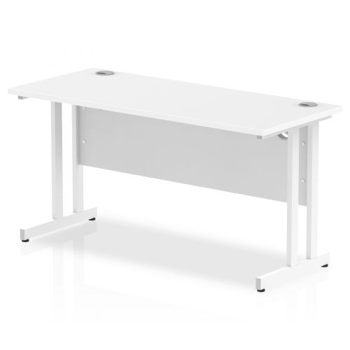 Impulse 1400 x 600mm Straight Desk White Top White Cantilever Leg MI002202