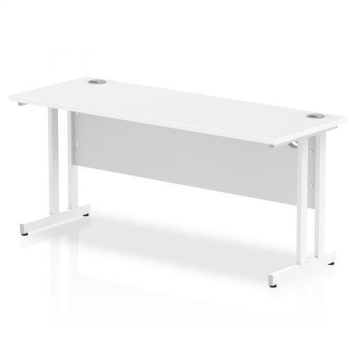 Impulse 1600 x 600mm Straight Desk White Top White Cantilever Leg MI002203