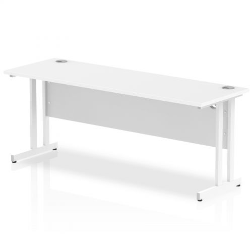 Impulse 1800 x 600mm Straight Desk White Top White Cantilever Leg MI002204