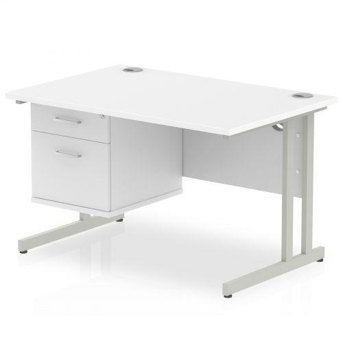 Impulse 1200 Rectangle Silver Cant Leg Desk WHITE 1 x 2 Drawer Fixed Ped