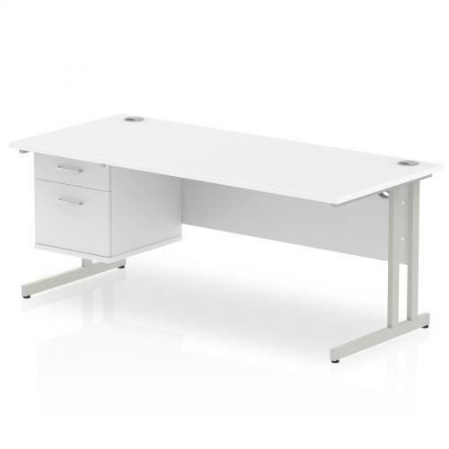 Impulse 1800 Rectangle Silver Cant Leg Desk WHITE 1 x 2 Drawer Fixed Ped