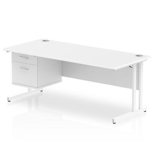 Impulse 1800 Rectangle White Cant Leg Desk WHITE 1 x 2 Drawer Fixed Ped