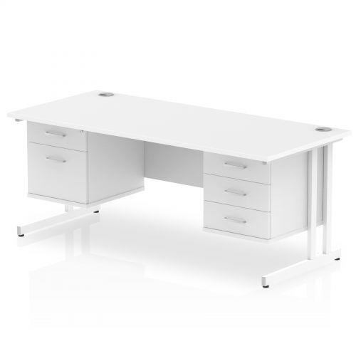 Impulse 1600 Rectangle White Cant Leg Desk WHITE 1 x 2 Drawer 1 x 3 Drawer Fixed Ped