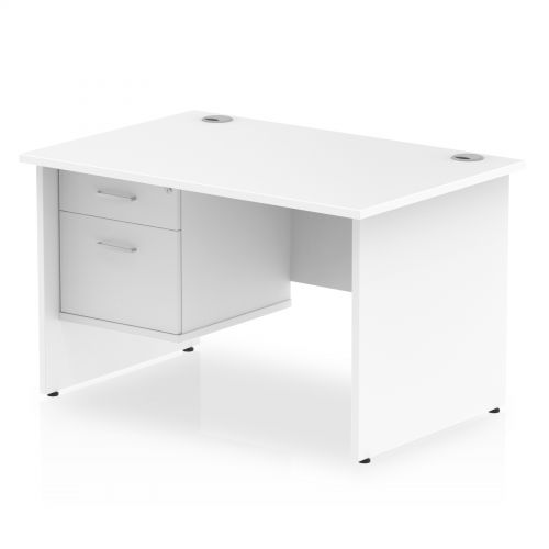 Impulse 1200 Rectangle Panel End Leg Desk WHITE 1 x 2 Drawer Fixed Ped
