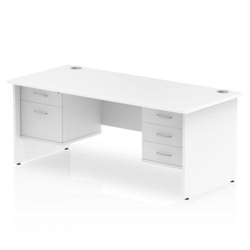 Impulse 1800 Rectangle Panel End Leg Desk WHITE 1 x 2 Drawer 1 x 3 Drawer Fixed Ped