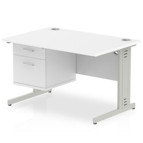 Impulse 1200 Rectangle Silver Cable Managed Leg Desk WHITE 1 x 2 Drawer Fixed Ped