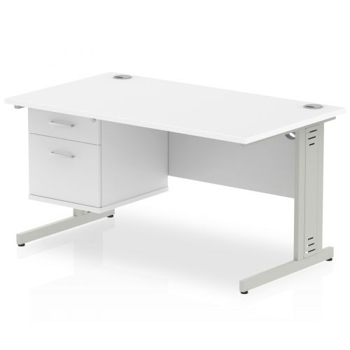 Impulse 1400 Rectangle Silver Cable Managed Leg Desk WHITE 1 x 2 Drawer Fixed Ped