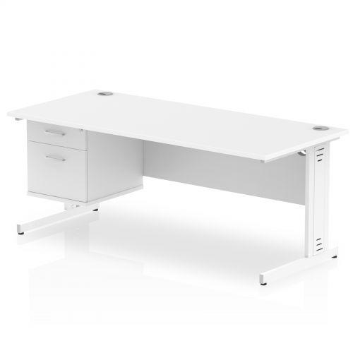 Impulse 1800 Rectangle White Cable Managed Leg Desk WHITE 1 x 2 Drawer Fixed Ped