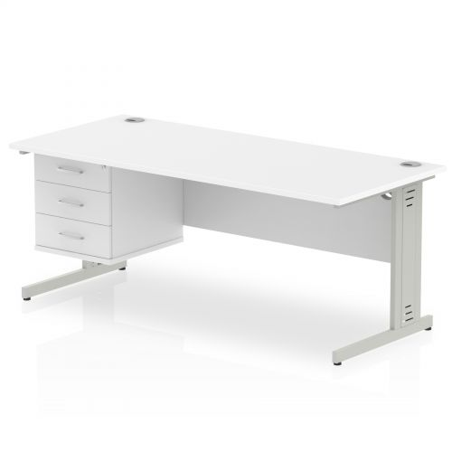 Impulse 1800 Rectangle Silver Cable Managed Leg Desk WHITE 1 x 3 Drawer Fixed Ped
