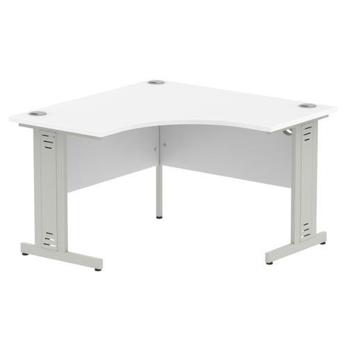 Impulse 1200 Corner Desk Silver Cable Managed Leg Desk White