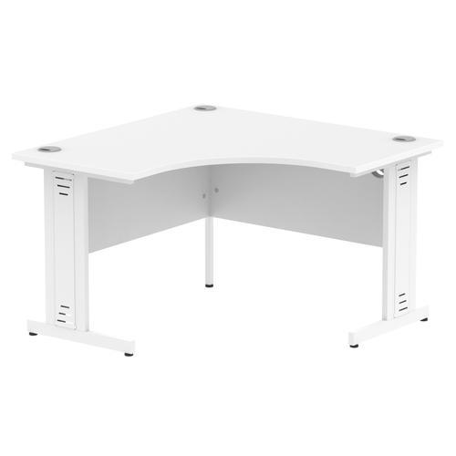 Impulse 1200 Corner Desk White Cable Managed Leg Desk White