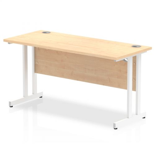 Impulse 1400/600 Rectangle White Cantilever Leg Desk Maple