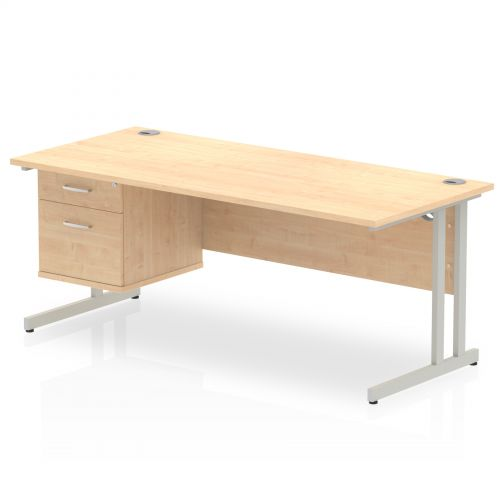 Impulse 1800 Rectangle Silver Cant Leg Desk MAPLE 1 x 2 Drawer Fixed Ped