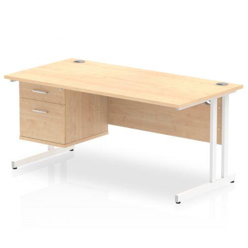 Impulse 1600 Rectangle White Cant Leg Desk MAPLE 1 x 2 Drawer Fixed Ped
