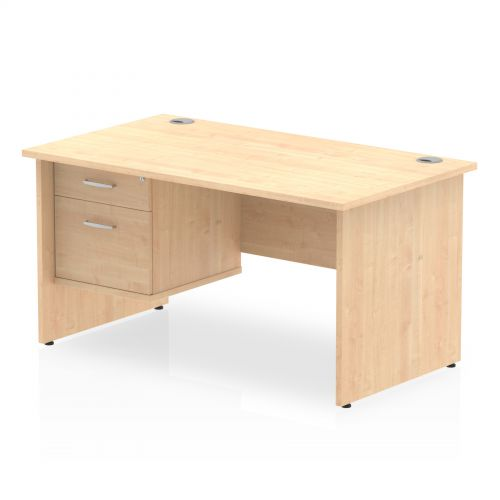 Impulse 1400 Rectangle Panel End Leg Desk MAPLE 1 x 2 Drawer Fixed Ped