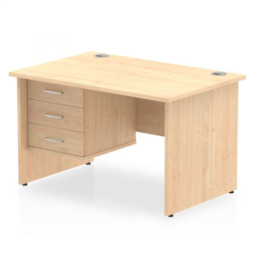 Impulse 1200 Rectangle Panel End Leg Desk MAPLE 1 x 3 Drawer Fixed Ped