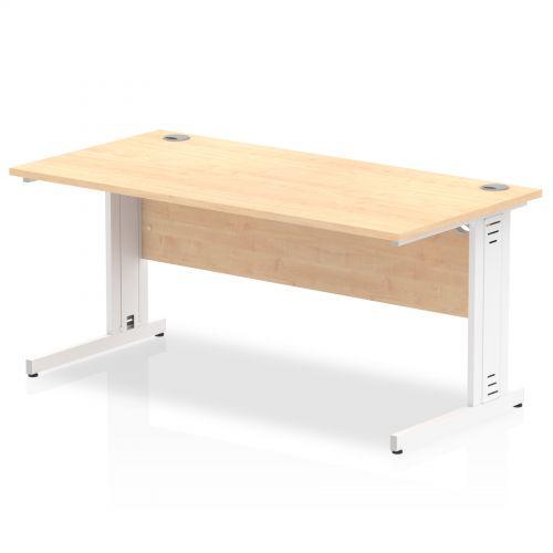 Impulse 1600/800 Rectangle White Cable Managed Leg Desk Maple
