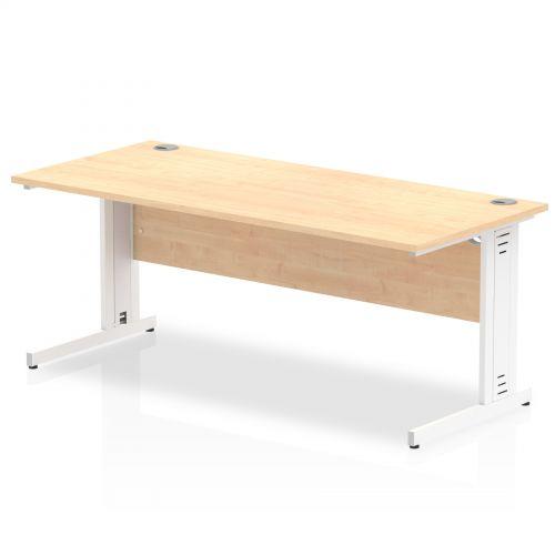 Impulse 1800/800 Rectangle White Cable Managed Leg Desk Maple