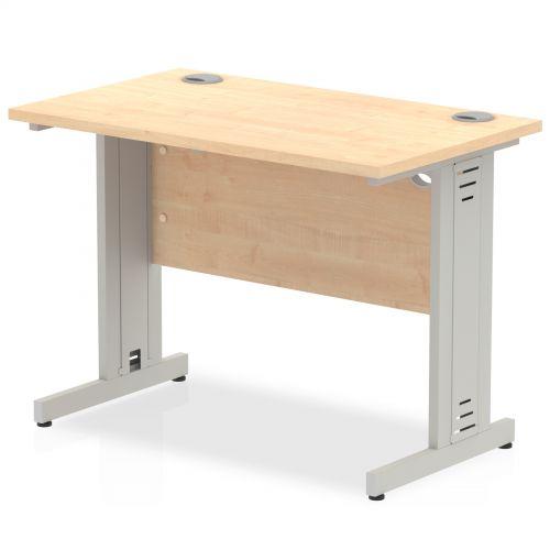 Impulse 1000/600 Rectangle Silver Cable Managed Leg Desk Maple