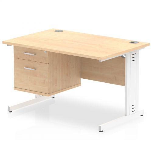 Impulse 1200 Rectangle White Cable Managed Leg Desk MAPLE 1 x 2 Drawer Fixed Ped