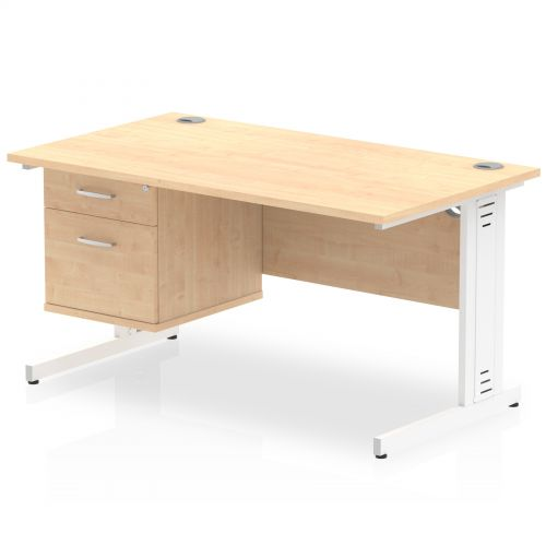 Impulse 1400 Rectangle White Cable Managed Leg Desk MAPLE 1 x 2 Drawer Fixed Ped