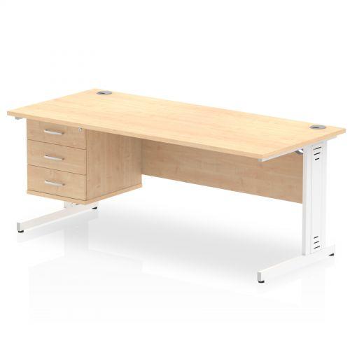 Impulse 1800 Rectangle White Cable Managed Leg Desk MAPLE 1 x 3 Drawer Fixed Ped