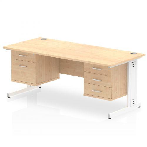 Impulse 1800 Rectangle White Cable Managed Leg Desk MAPLE 1 x 2 Drawer 1 x 3 Drawer Fixed Ped