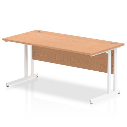 Impulse 1600 x 800mm Straight Desk Oak Top White Cantilever Leg MI002645
