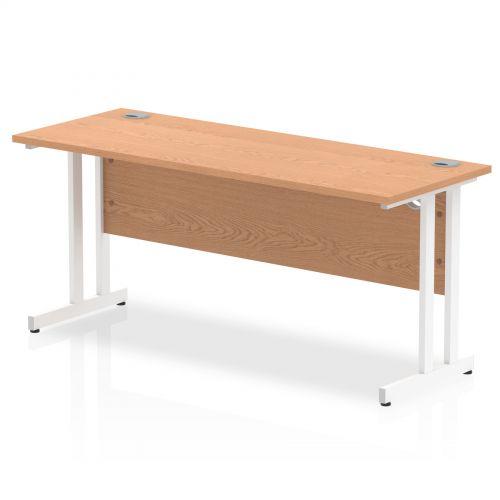 Impulse 1600/600 Rectangle White Cantilever Leg Desk Oak