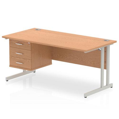 Impulse 1600 Rectangle Silver Cant Leg Desk OAK 1 x 3 Drawer Fixed Ped