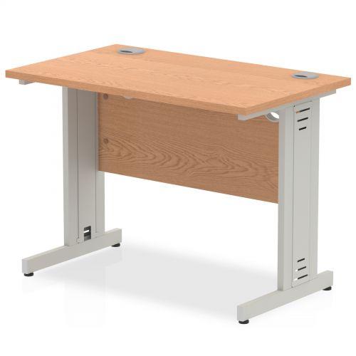 Impulse 1000/600 Rectangle Silver Cable Managed Leg Desk Oak