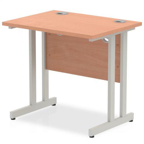 Impulse 800 x 600mm Straight Desk Beech Top Silver Cantilever Leg MI002884