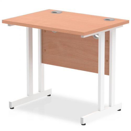Impulse 800 x 600mm Straight Desk Beech Top White Cantilever Leg MI002885