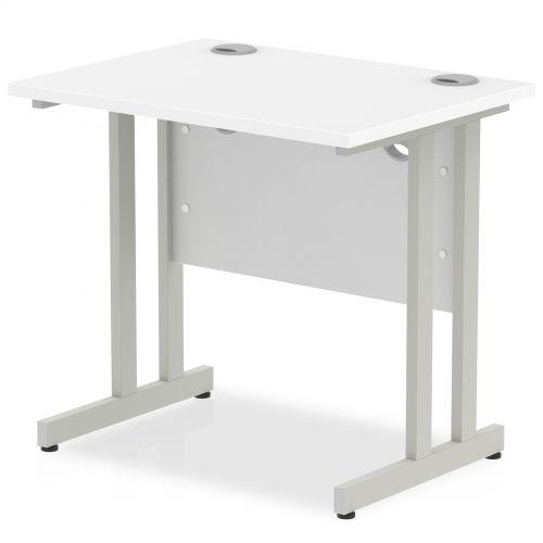Impulse 800 x 600mm Straight Desk White Top Silver Cantilever Leg MI002894