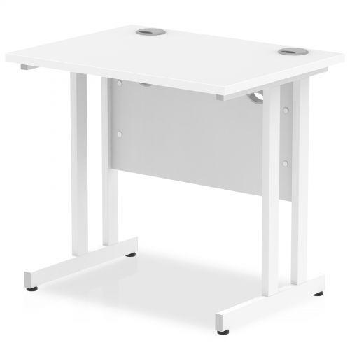 Impulse 800 x 600mm Straight Desk White Top White Cantilever Leg MI002895