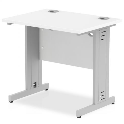 Impulse 800/600 Rectangle Silver Cable Managed Leg Desk White