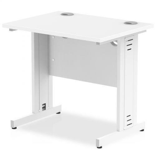 Impulse 800/600 Rectangle White Cable Managed Leg Desk White