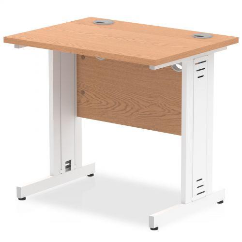 Impulse 800/600 Rectangle White Cable Managed Leg Desk Oak