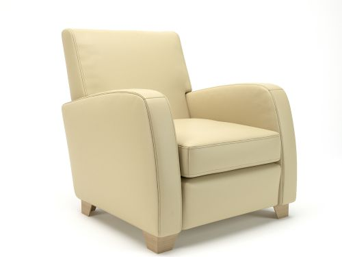 Wynne 81cm Wide Armchair Cream Faux Leather Light Wood Feet