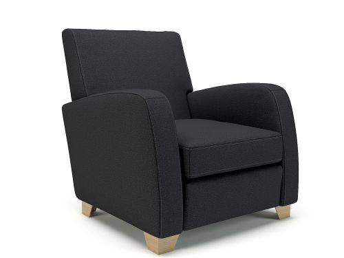 Wynne 81cm Wide Armchair Ebony Fabric Light Wood Feet